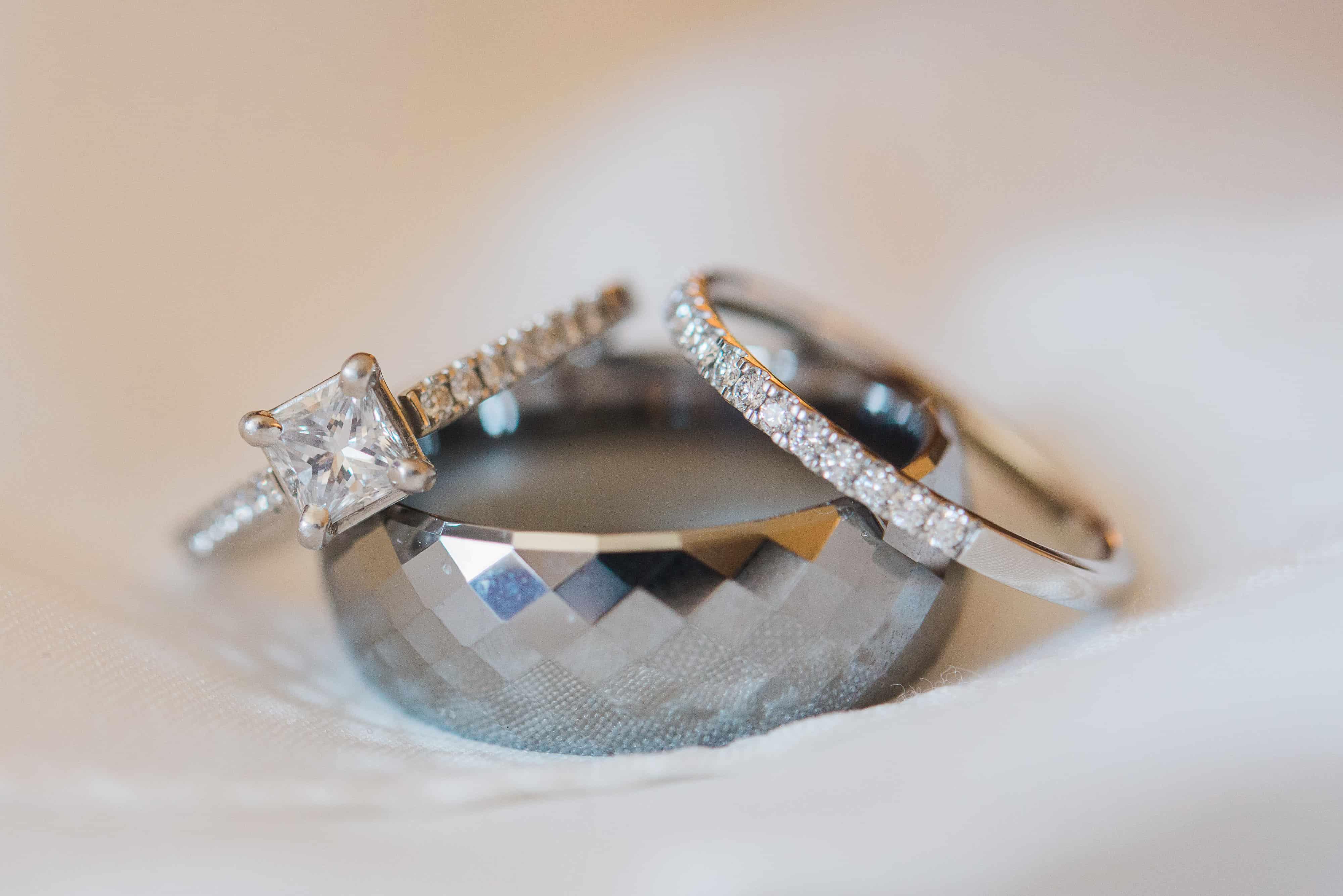 Diamond Platinum Tungsten Wedding Rings