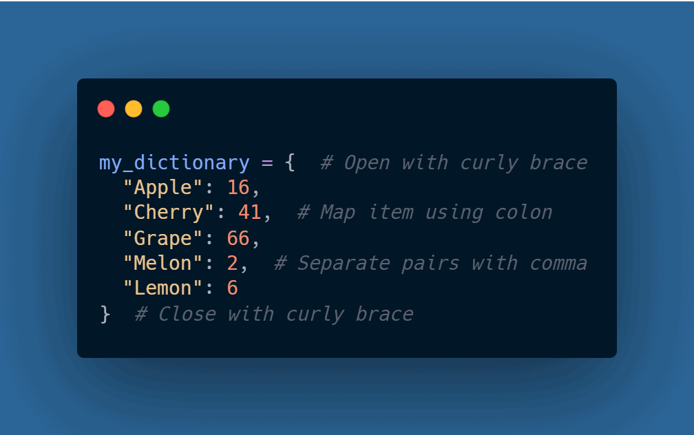Python Dictionary Syntax Using Carbon
